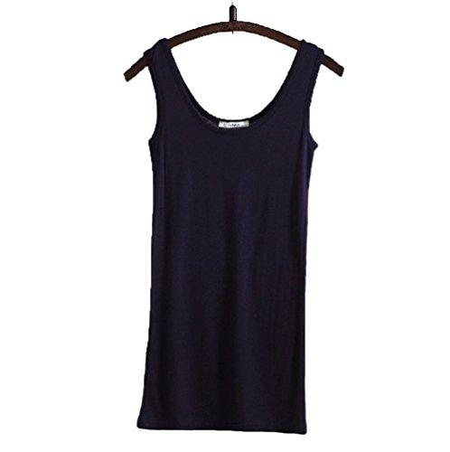 WENSENY Donna BXC Lungo Casual Canotta Senza Maniche T Shirt-Nero-X-Large