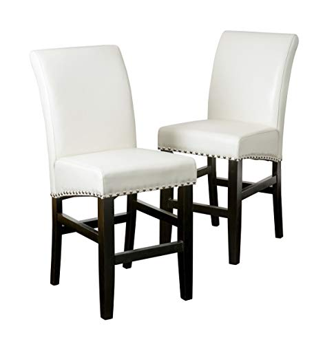 Christopher Knight Home 238543 Lisette Leather Counter Stool Set of 2 Ivory
