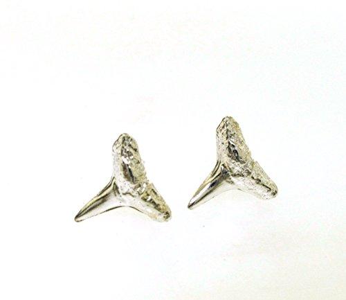 - Silver Stud Earrings, cast from fossil shark teeth