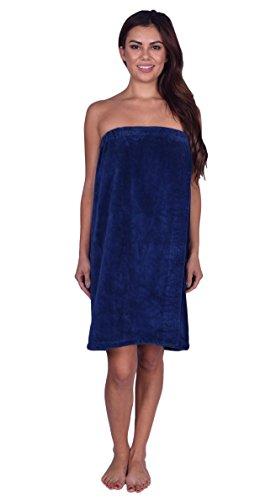 La Calla Women's Bath Wrap -%100 Terry Cotton - Turkish Spa Shower Women Wraps with Adjustable Closure (Navy)