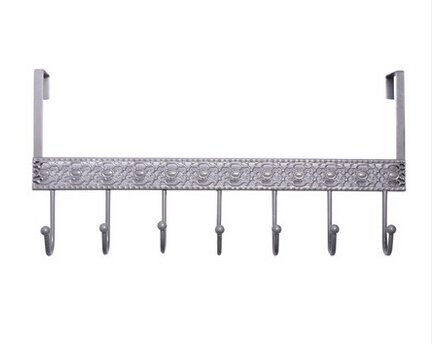 Modern Silver Design Home Wall Mount 7 Heavy Duty Row Hooks,Coat Rack, Wrought and Cast Iron