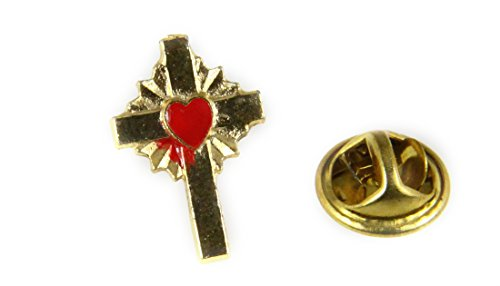 6030465 Cross Lapel Pin Tie Tack Red Sacred Heart Christian Service Award