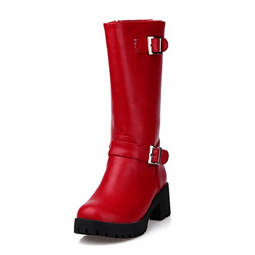 Imitated Buckles Platform Rhinestones BalaMasa Chunky Metal Red Heels Boots Studded Leather Girls 0Iwqwn87