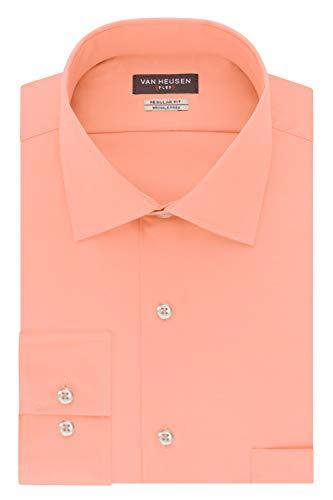 Van Heusen Men's Flex Regular Fit Solid Spread Collar Dress Shirt, Periwinkle, Blossom, 18.5