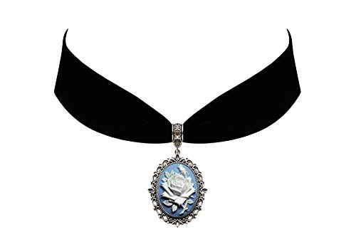 Victorian Vault Rose on Blue Cameo Gothic Steampunk Victorian Pendant on Choker ()