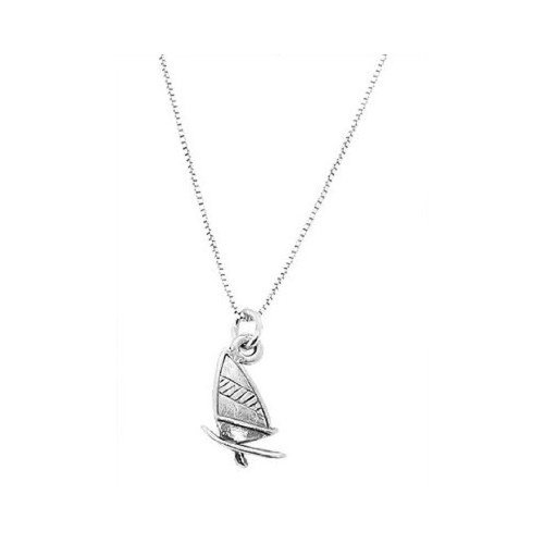 Sterling Silver Oxidized One Sided Windsurfing Board Charm Pendant with Polished Box Chain Necklace (18 Inches)