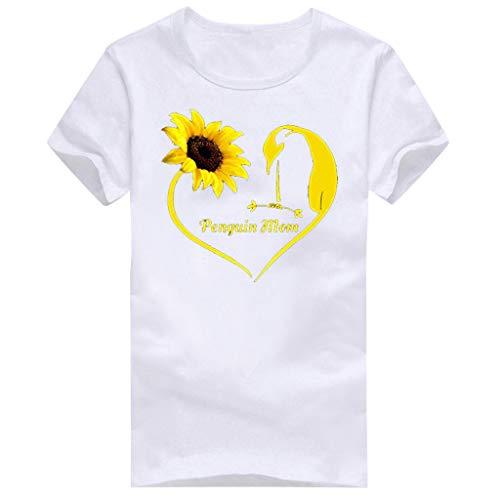 Women T-Shirt Casual Summer Short Sleeve Tee Letter Print Loose Blouse Tops (XXL, White - Topper Antenna Alien