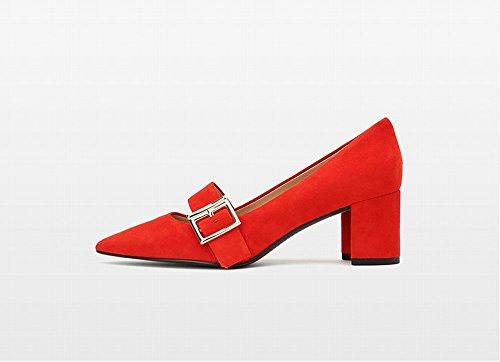 Mis Pointu B Profonde Bouche Peu Professionnel Talon Talons Pied Hauts NSX Sauvage Chaussures Épais zTtw4
