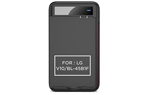 PowerBear LG V10 Battery Charger (Battery Not Included) Intelligent External Battery Charger Cradle for LG V10 Batteries with Built-in USB Port and Foldable Plug - Black [24 Month Warranty]