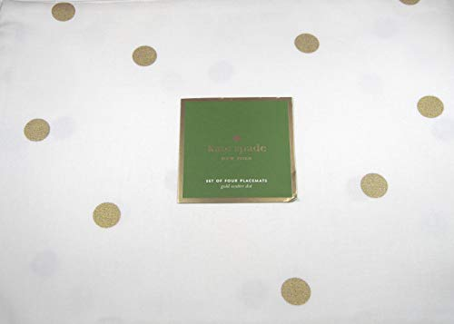 Kate Spade Gold Scatter Dot Holiday Placemats 100% Cotton 13 x 19 4 Pack.