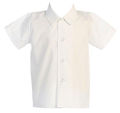 Baby Boys Infant Toddler White Short Sleeved Simple Dress Shirt - 4T