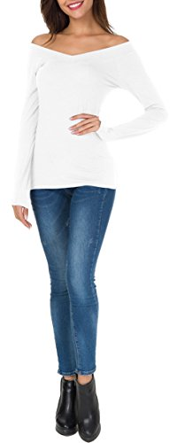 aba9191da99 ... Sarin Mathews Womens Off The Shoulder Long Sleeve Tops Slim Fit Blouse  Shirts White S ...