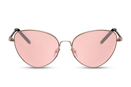 Lunettes Rondes Monture Style de Cheapass de métal chat yeux Femmes faite soleil de Or1 UV400 dIwBqxa