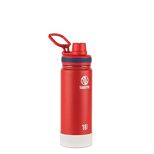 Takeya Actives Insulated Stainless Water Bottle with Insulated Spout Lid, 18oz, Red (American Spirit Collection) (Spirit Bottle Sport)