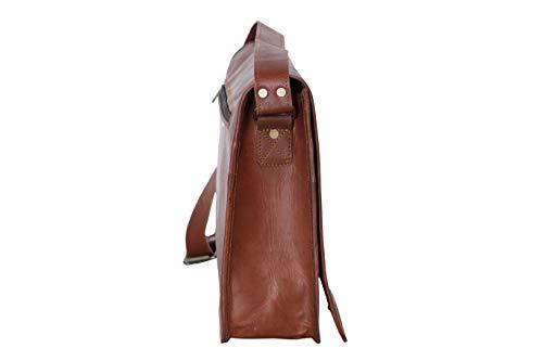 mPelle 15 inch Vintage Crossbody Genuine Leather Laptop Messenger Bag for Men Briefcase Satchel Shoulder Bag