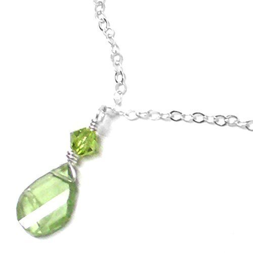 Peridot 9x6mm Briolette Dainty Chain Necklace 16-1/2 Inches Choker Length Sterling (Homecoming Dance Ideas)