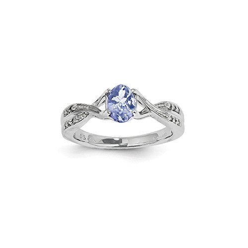 14K Solid White Gold (0.06cttw) Tanzanite and Diamond Ring ()