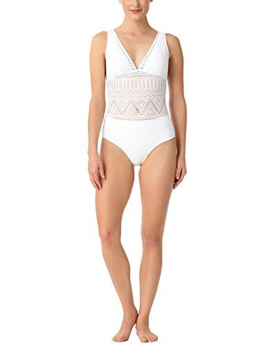 Anne Cole Women's Crochet V Neck Sexy One Piece Swimsuit, White, ()