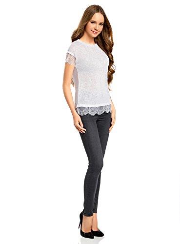oodji Ultra Mujer Camiseta con Cuello Redondo y Acabado de Encaje Blanco (1000N)