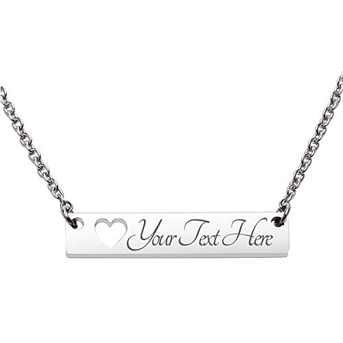 Fanery Sue Personalized Custom Engraved Name 316L Stainless Steel Horizontal Bar Necklace(Silver) (Custom Best Friend Necklaces)