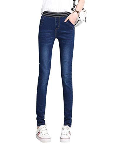 Ropa Lápiz Con Dunkelblau Adelina Mezclilla De Elásticos Delanteros Jegging Mujer Alta Fit Cintura Pantalones Slim 7UHTq0w