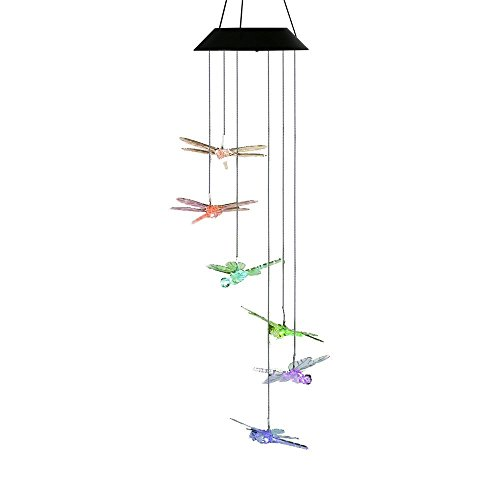 Changing Color Dragonfly Wind Chime, AceList Spiral Spinner Windchime Portable Outdoor Decorative Romantic Windbell Light for Patio, Deck, Yard, Garden, Home, Pathway
