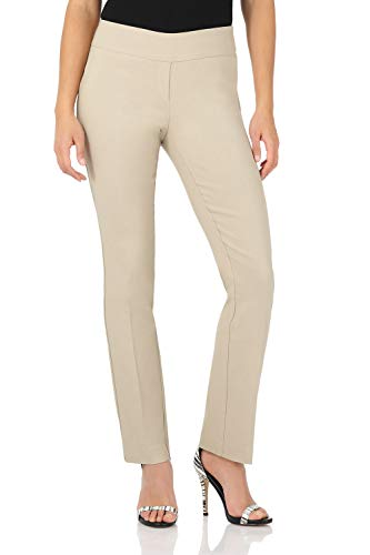 - Rekucci Women's Ease in to Comfort Straight Leg Pant with Tummy Control (8SHORT,Stone)