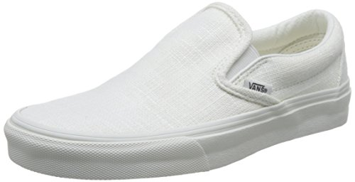 Vans Classic Slip On Hemp Linen Blanc de Blanc Sneakers (5 Mens/6.5 Womens, Blanc de Blanc) by Vans