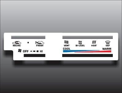 1984-1988 Toyota 4Runner Pickup Truck White Heater Control Overlay HVAC Heater Control Face