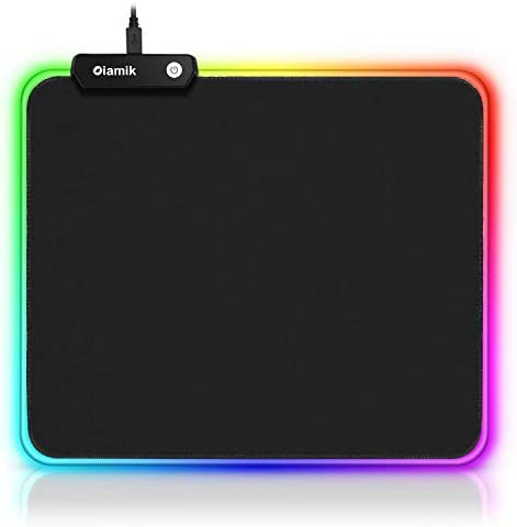 RGB Mouse Pad Gaming Oiamik| Non-Slip Rubber Base Gaming Mousepad Small with 12 Lighting Modes LED Mouse Pads for Home Office Laptop Computer Black 250 X 300mm / 11.8 X 9.8 Inches