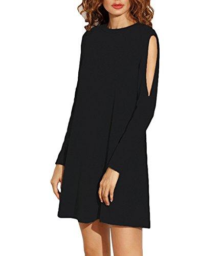 ZJCT Women's Cold Shoulder Cut Out Long Sleeve Loose T-Shirt Casual Shift Dress Black M