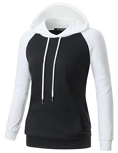 - GIVON Womens Comfortable Long Sleeve Lightweight Raglan Zip-up Hoodie with Kanga Pocket/DCF118-BLACK/WHITE-L