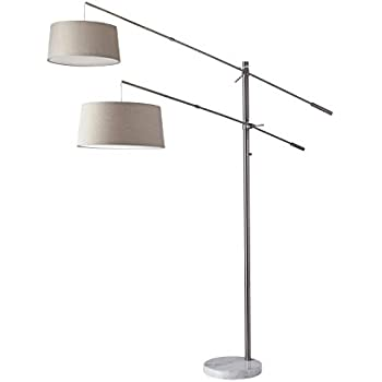 Adesso 5275 22 Manhattan Two Arm Arc Lamp Brushed Steel