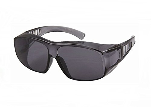 Large Frame Fit Over Sunglasses Light Grey Tint Lenses Vented Arms Put Over Prescription (Grey Tint Safety Glasses)