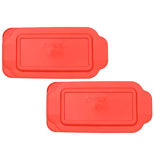 (Pyrex 213-PC 1.5 Quart Red Rectangle Plastic Replacement Lid Cover for Loaf Pan - 2 Pack)