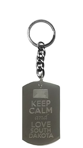 (Hat Shark Keep Calm and Love South Dakota State Logo - Metal Ring Key Chain Keychain)