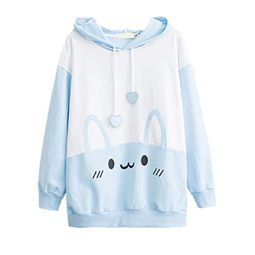 Bunny Hoodie Kawaii Print Loose Casual Pullover Hoodie Tops (Blue, M) (Fairy Kei)