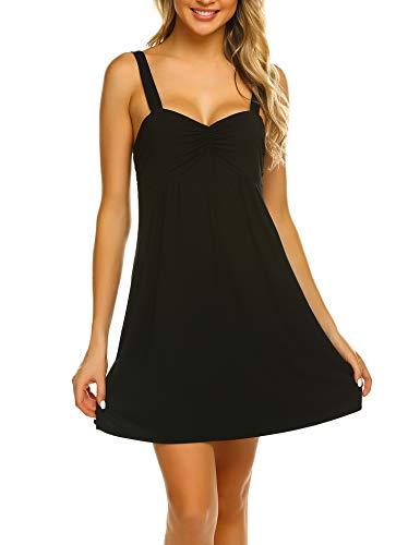 Ekouaer Women's Wide Strap Nightgown Empire Waist Sleepwear Gown Racerback Nightshirt Black