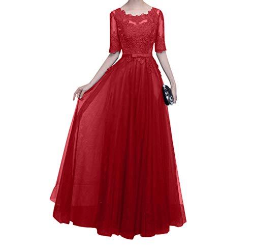 Dunkel Rot Mutterkleider mit Brautmutterkleider Spitze Langarm Damen Blau Charmant Ballkleider Navy Abendkleider Hundkragen xqBn6w4