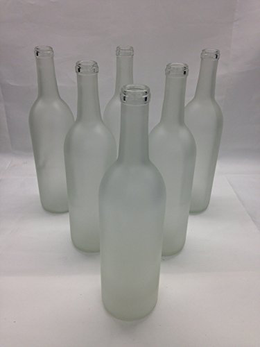 6 - Frosted Bordeaux Flat Bottom Glass Bottles 750ml for Bottle Trees, Crafting, Parties,Wedding Center Piece , Decor , Home Brew , Beer, Wine