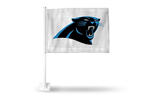 NFL Carolina Panthers Car Flag, White, with White Pole Rico Industries Inc. FG0805