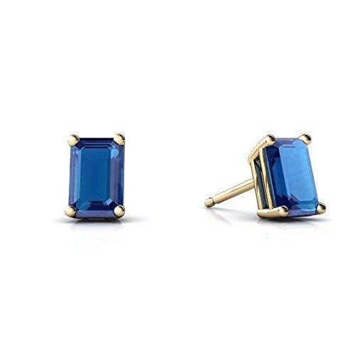 Emerald Gold 14kt 6x4 (14kt Yellow Gold London Topaz 6x4mm Emerald_Cut Emerald-Cut Stud Earrings)