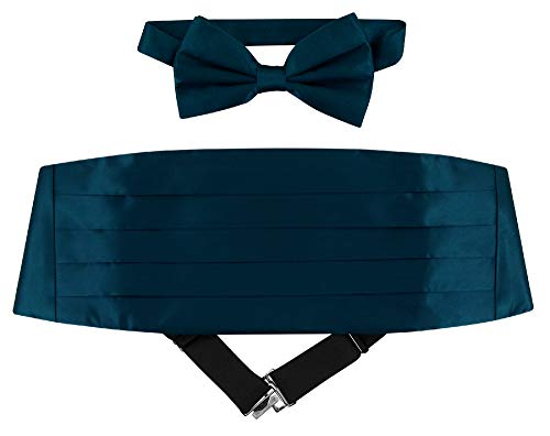 SILK Cumberbund & BowTie Solid BLUE SAPPHIRE Color Men's Cummerbund Bow Tie Set