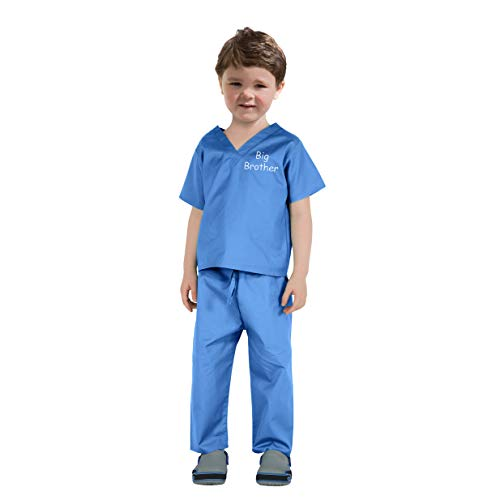 Scoots Kids Scrubs for Boys, Big Brother Embroidery, Blue, 2T