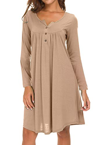 Eanklosco Long Sleeve Swing Dress Women Casual Loose Henley Shirt Dress (Light Coffee, S)