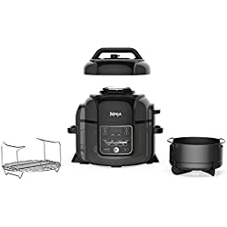 Ninja Foodi 1400-Watt Multi Cooker, Pressure Cooker, Steamer & Air Fryer w/ TenderCrisp Technology, Pressure & Crisping Lid, 6.5 Qt Pot (OP301), Black/Gray