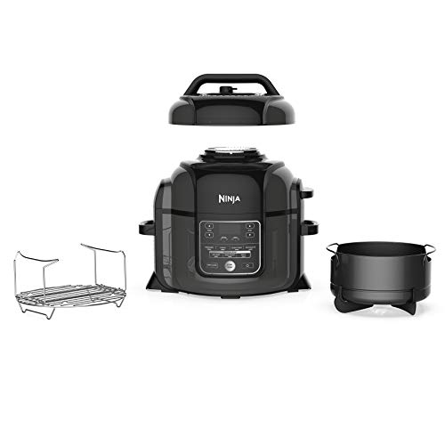 (Ninja Foodi 1400-Watt Multi Cooker, Pressure Cooker, Steamer & Air Fryer w/ TenderCrisp Technology, Pressure & Crisping Lid, 6.5 Qt Pot (OP301), Black/Gray)