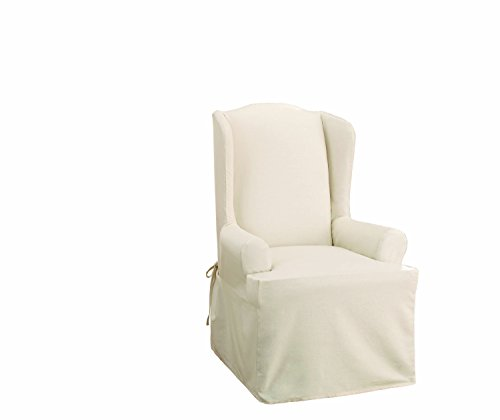 SureFit Duck Solid - Wing Chair Slipcover - Natural