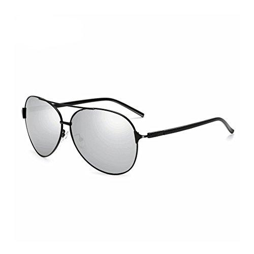 Gafas Black Gafas de Black de Moda para Color UV polarizado Sol Box Espejo Box protección Hombres de Sakuldes Sol Aviador White White 100 wRqXp