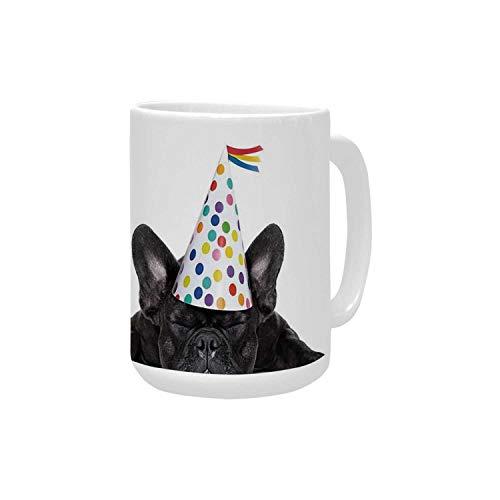 Birthday Decorations for Kids Ceramic Mug,Sleepy French Bulldog Party Cake with Candles Cone Hat Image for - Ceramic Mug Bulls